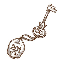 Hotel room key isolated sketch opener and trinket vector