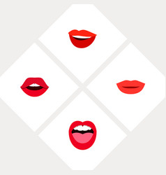 icon flat lips set of kiss teeth smile and other vector image