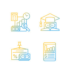 investment black gradient linear icons set vector image