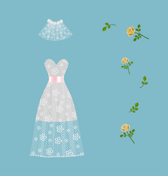 lace wedding dress decorated with roses isolated vector image
