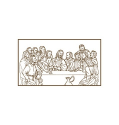 Last supper Jesus Christ savior disciples apostles vector