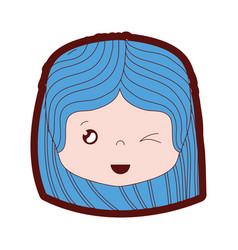 line color girl head with hairstyle and funny face vector image