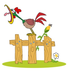 Loud Rooster Crowing On A Wood Fence vector image