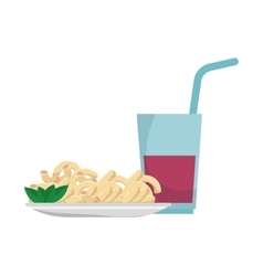 Macaroni gourmet plate with soda drink vector