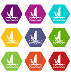 man on windsurf icon set color hexahedron vector image
