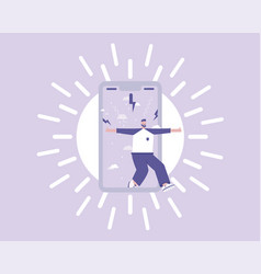 man replaces depressed mood with a positive vector image