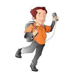 Man with a backpack and music player vector