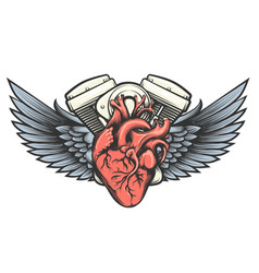motor heart tattoo vector image