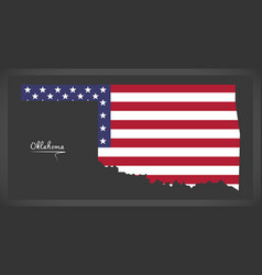 Oklahoma map with american national flag vector