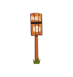 Old wooden mailbox standing on piece of green vector
