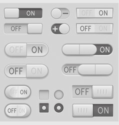 On and off toggle switch slider buttons interface vector