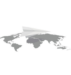 paper plane on the contour of the earth vector image