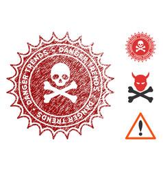 Pirate danger trends stamp with grunge effect vector