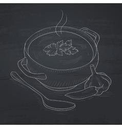Pot of hot soup vector