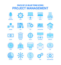 project management blue tone icon pack - 25 icon vector image