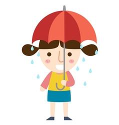 Rain girl vector
