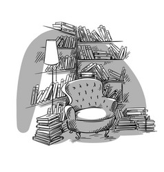 Reading nook cozy room with bookshelves vector
