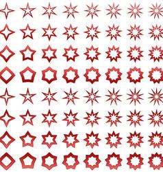 Red star shape set vector