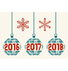 Retro Happy New Year 2016-2017-2018 design vector