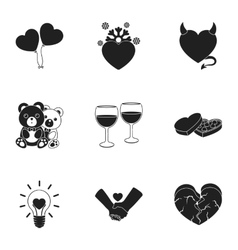 Romantic set icons in black style Big collection vector
