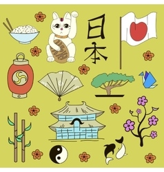 Seamless Japanese symbols yellow background vector