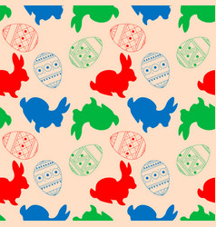 seamless pattern with rabbits and colorful vector image
