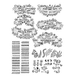 set hand-drawn floral elements ribbons vector image