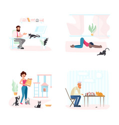 set of cat with owners vector image