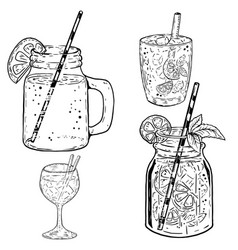 set of hand drawn summer cocktails on white vector image