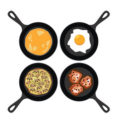 set of pans with breakfast food vector image
