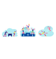 set people active sport life girls playing big vector image