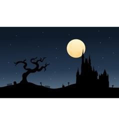 Silhouette of big castle halloween vector