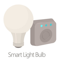 smart light bulb icon cartoon style vector image