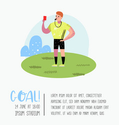 Soccer cartoon referee poster placard vector