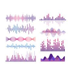 sound waves color set audio vector image