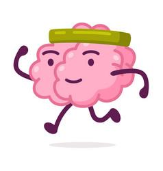 Sportive pink brain jogging funny human nervous vector
