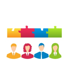 Team of business people with jigsaw puzzle pieces vector