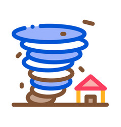 tornado house icon outline vector image