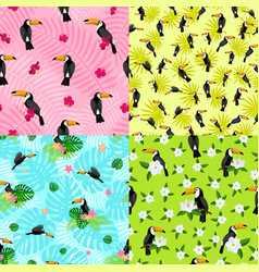 Toucan pattern set flat style vector