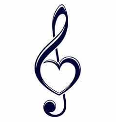 Treble clef with heart vector