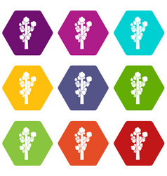 tree icon set color hexahedron vector image