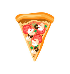 Triangle pizza slice with fresh vegetables and vector