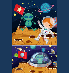 two space scenes with aliens and astronaut vector image