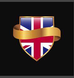 united kingdom flag golden badge design vector image