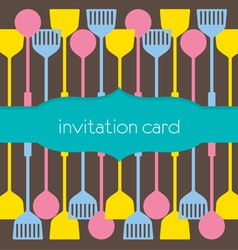 Utensils Pattern Invitation Card vector