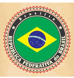 Vintage label cards of Brazil flag vector image