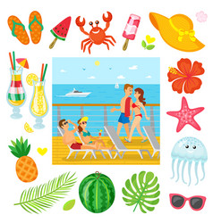 voyage traveling and recreation summer objects vector image