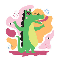 with abstract green crocodile monster many vector image