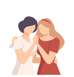 Woman embracing crying female and soothing her vector