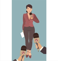 young woman giving an interview vector image